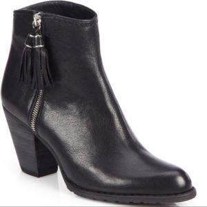 Stuart Weitzman Leather Tassel Ankle Boots Black 9